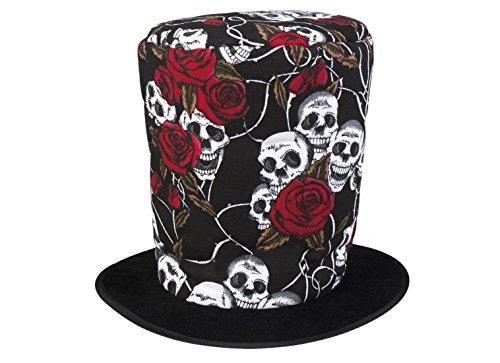 een Kostüm Zylinder Hut Totenköpfe Skelett Bräutigam Day of Dead, Mehrfarbig (Dekorieren Sie Ihren Mantel Für Halloween)