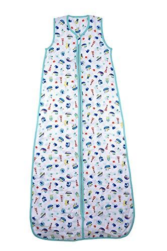 Schlummersack Kinderschlafsack für den Sommer aus Bambus-Musselin 0.5 Tog - Boote - Jungen - 3-6 Jahre/130 cm