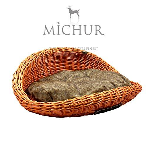 MICHUR FLYINGHEART COGNAC, Hundebett, Hundekorb, LUXUS, RATTEN, WEIDE, KORB, BETT, Cognac , Größen 75cm - 95cm