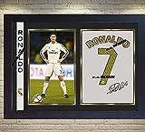 Cristiano Ronaldo Real Madrid C F SIGNED Autograph Fußball Fanartikel, gerahmt