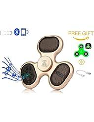 Bluetooth LED Fidget Spinner altavoz y micrófono con cable de carga plus libre regalo brilla en la oscuridad mano Spinner Por Fidget widgetz EDC reproductor de música inalámbrico Conexión de teléfono o tarjeta SD, Dorado