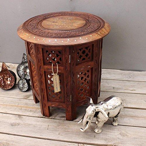 CE Hand Made Items - Tavolo indiano intagliato a mano, con inserti in ottone e rame, 38 cm ca.