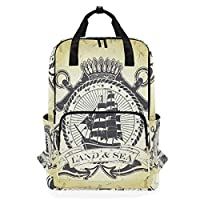 LUPINZ Stamp With Nautical Theme Backpack Durable Soulderbag Bookbag Back to School