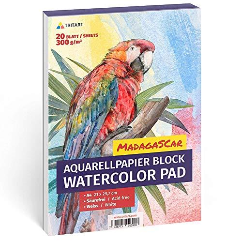 HOCHWERTIGES Aquarellpapier 300g, Din A4, Weiß, 20 Blatt | Aquarellblock von Tritart