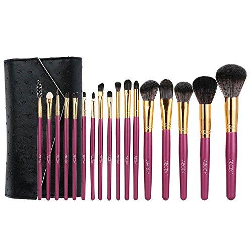 Abody 18Pcs Kit de Pinceau Maquillage Professionnel Brosses Cosmétiques Manche Bois Fibre Superfine avec un Sac