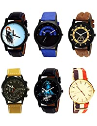 NIKOLA Modish 3D Design Mahadev Black Blue And Brown Color 6 Watch Combo (B22-B47-B14-B42-B23-B50) For Boys And...