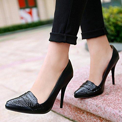TAOFFEN Femme Basique A Enfiler Mince Talons Hauts Chaussures Bas Bout Ferme Pointue Noir