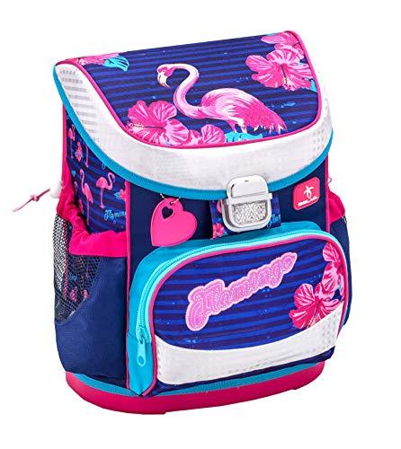 Belmil Ergonomischer Schulranzen Mädchen 1. Klasse mit Brustgurt - Super Leichte 765-820 g/Grundschule/Flamingo/Pink, Blau (405-33 Flamingo)