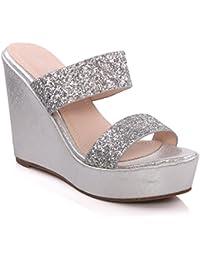 Unze Femmes Kerry ' Glittery Wedge Chaussons