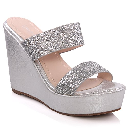 Unze Femmes Kerry ' Glittery Wedge Chaussons Champaign