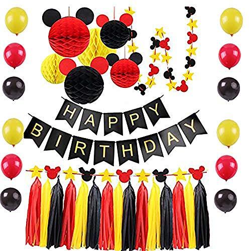 Mickey Mouse Geburtstagsparty Dekorationen Zubehör Honeycomb Balls, Geburtstag Banner, Mickey Honeycomb Balls, Ballone, Quaste, Mickey Garland für Mickey Mouse Geburtstagsdekoration