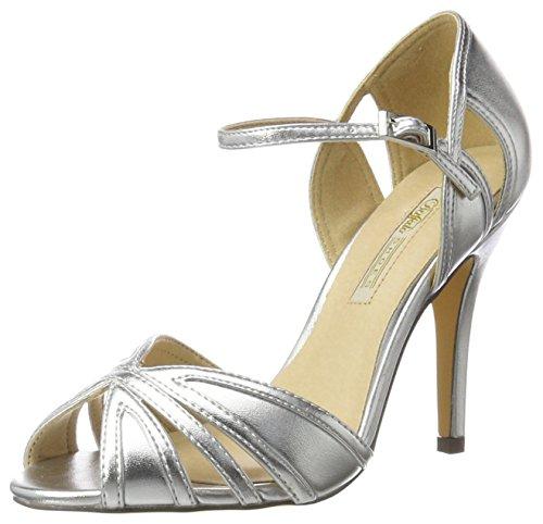 Buffalo Shoes Damen RK 1212-99 Metallic PU Knöchelriemchen, Silber (Silver), 39 EU