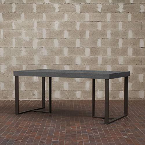 Itamoby, Table Apollo 160, Panneaux de nobilitato & Acier, Ciment/Anthracite, L.160 h.75,9 P.90