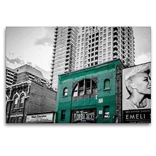 Calvendo Premium Textil-Leinwand 120 cm x 80 cm quer, Das grüne Haus | Wandbild, Bild auf Keilrahmen, Fertigbild auf echter Leinwand, Leinwanddruck: aus dem Stadtbild von Toronto Orte Orte -