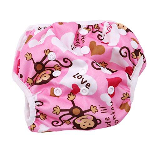 (EJY Mädchen Junge Trainerhosen Badehose, Baby Benutzbare Schwimmwindeln Einstellbar Diapers Leakproof Wassersport Bademode (Rosa AFFE))