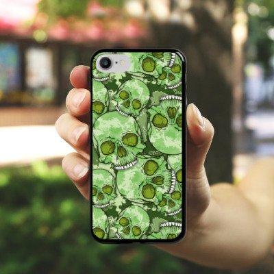 Apple iPhone X Silikon Hülle Case Schutzhülle Totenschädel Muster Knochen Hard Case schwarz