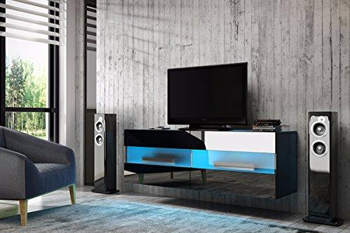 Meuble TV Brico (noir mat/noir brillant) avec LED bleue