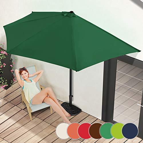 Demi-Parasol | Ø 3 m, avec Manivelle, Protection UV 30+, Polyester, Couleurs au Choix | Demi-Parasol pour Balcon, Terrasse, Jardin (Vert)