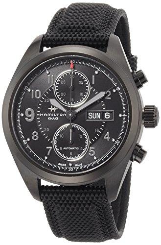 Hamilton Khaki Field Auto Chrono / orologio uomo / quadrante nero / cassa acciaio e PVD nero / cinturino gomma nera