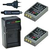 Chili Power PS BLS5, PS bls50, BLS 5, BLS KIT DI 50: 2X batteria + caricabatteria da auto per OLYMPUS OM-D E-M10, Pen E-PL2, E-PL5, E-PL6, E-PL7, E-PM2, Stylus 1