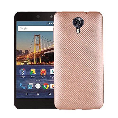 JDDRCASE Handy Zubehör Hüllen, Slim Carbon Fiber Gummi Soft TPU Hybrid Shockproof Case Cover für Google Android One General Mobile 4G / GM5 (Farbe : Roségold)