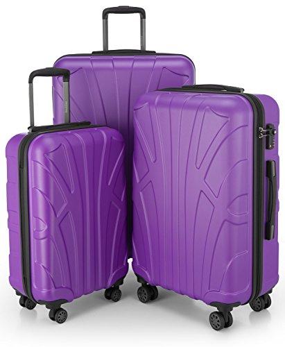 SUITLINE - 3er Koffer-Set Trolley-Set Rollkoffer Hartschalen-Koffer Reisekoffer, TSA, (S, M & L), Lila/Aubergine