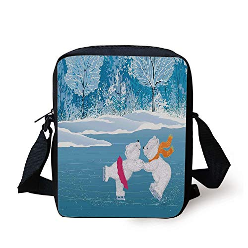 Cartoon,Little Polar Bears Skating on Frozen Lake Love Partners Artistic Christmas Theme,Blue White Print Kids Crossbody Messenger Bag Purse -