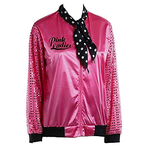 Jacke Damen Halloween Danny Rosa Mit Wesentlich Satin Polka Punkt Schal Bomberjacke Elegante Vintage Fashion Unique Pilotenjacke Mantel Herbst Winter (Color : Hot Pink, Size : 2XL)