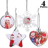 4 Pezzi Foto Ornamenti di Plastica Natale Palla Foto Ornamenti per Parete Foto di Natale Mostrano Decorazione Albero di Natale, 4 Stili