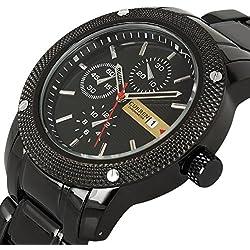 Luxury New Curren Army Black Stainless Steel Date Sports Quartz Mens Wrist Watch