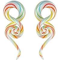 AllRing 1 paio di piercing a spirale in vetro Pyrex per orecchio, dilatatore per orecchio, dilatatore, in vetro, per il…