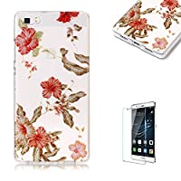 For Huawei P8 Lite Sparkly Sequins soft TPU+IMD Case. Brilliant lovely Colored Drawing Parttern Lightweight Ultra Slim Anti Scratch Transparent Soft Gel Silicone TPU Bumper Protective Case Cover Shell for Huawei P8 Lite - Azalea