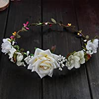 niumanery Women Wedding Flower Hair Garland Crown Headband Floral Rose Handmade Vacation White