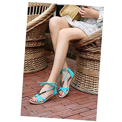 Minetom Damen Sandalen Sandaletten Keilabsatz Perlen Lace Up Flache Schuhe EU Größe Blau
