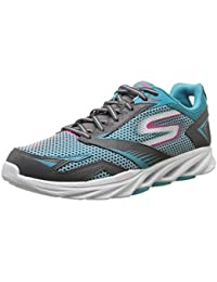 Skechers Women's Go Run Vortex Charcoal And Blue Synthetic Running Shoes