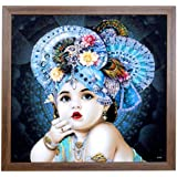 'Happy Selling' Art Automation Framed Krishna Bal Roop Painting (Synthetic Without Glass) Bal Krishna Framed Painting 22 X 22 Inch With Photo Frame | Wall Photo Frame God | | Radha Krishna Framed Painting |