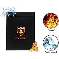 Bolsa ignífuga Pawaca, bolsa impermeable para documentos, pasaporte, dinero y valores, fibra de vidrio revestida de silicona y revestimiento de aluminio (28 x 38 cm)