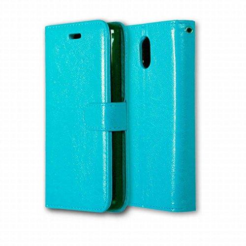 Custodia Lenovo Vibe P1m Cover Case, Ougger Portafoglio PU Pelle Magnetico Stand Morbido Silicone Flip Bumper Protettivo Gomma Shell Borsa Custodie con Slot per Schede Colore Verde Blu