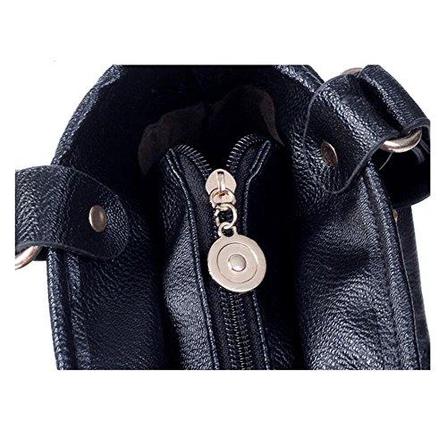 Highdas Frau Dame Punk Quaste Franse Leather Schulter Handtasche Handle Schulranzen Geldbörse Landstreicher Tote Taschen Schwarz