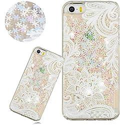 Glitter Liquide Paillette Coque pour iPhone 5/5S/SE,DasKAn Fleur de Dentelle Blanche Motif Brillant Sable Mouvant Transparent Rigide Housse de Arrière Antichoc Silicone Étui de Téléphone,#1