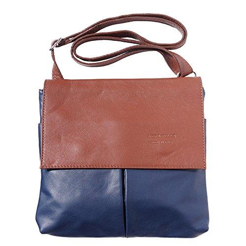 BORSA A TRACOLLA CON TASCHE ANTERIORE 2086 (Blu scuro-marrone)