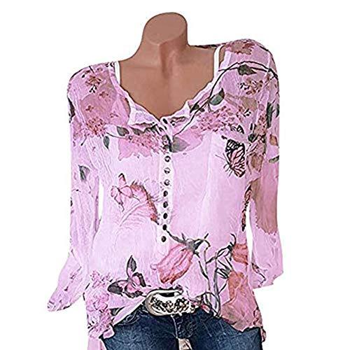Damen Tunika Top V Ausschnitt Knopfleiste Plissiert Floral Shirt Bluse Frauen Elegante Blusen Weibliche Beiläufige Lose Shirts