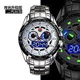 Easy Go Shopping Watch Herrenuhr Military Watch Wasserdicht Double Show Leuchtende Uhr (Color : 1)