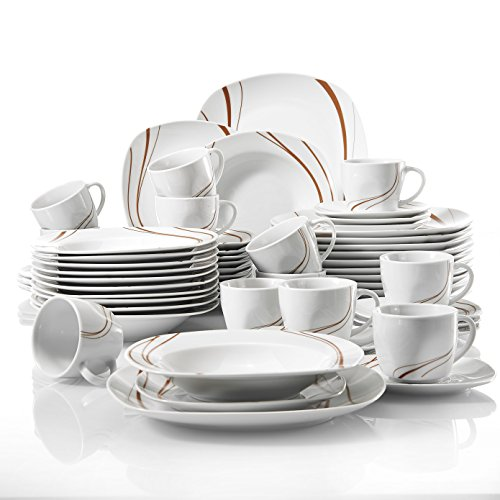 VEWEET, Tafelservice Serie \'Bonnie\' aus Porzellan 60-teilig, Kombiservice beinhaltet Kaffeetasse, Untertasse, Dessertteller, Speiseteller und Suppenteller, für 12 Personen
