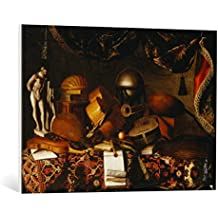 "Cuadro en lienzo: 17. Jahrhundert ""Still Life of Musical Instruments with a Globe & Statue arranged on a Table draped with a Carpet"" - Impresión artística de alta calidad, lienzo en bastidor, 85x60 cm"