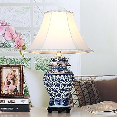 BRILIFE Antikes chinesisches Porzellan LED-Tischleuchte Stoff Lampenschirm für Schlafzimmer/Wohnzimmer Beleuchtung E27 110-220 V Schreibtischleuchten (Porzellan Stoff)