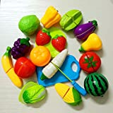 OULII Pretend Play Cutting Fruit Toy Set Simulation Fruits Vegetables Food Toy Set Kitchen Toys Birthday Gift for for Kids, pack of 18