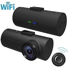 Dash cam (telecamera da cruscotto) C1 HaloCam, FHD, da 1080p, con videoregistratore da auto, con WiFi incorporato, dash cam con obiettivo grandangolare a 165°, con sensore di movimento, a infrarossi, con registrazione a loop.