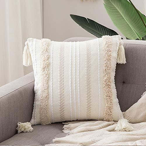 MIULEE 1 Stück Dekorative Kissenbezug Baumwolle Dekokissen Boho Super Weich Kissenbezüge Quaste Decor Kissenhülle für Sofa Couch Schlafzimmer Wohnzimmer Auto 18X18inch 45x45cm