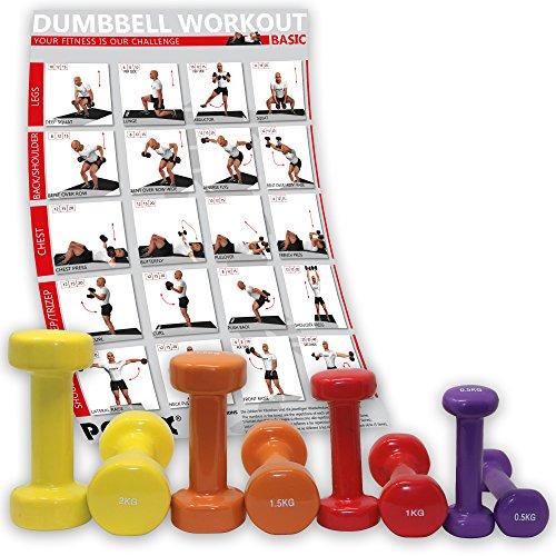 POWRX Vinyl Hantel 8er Set inkl. Workout I Hanteln ideal für Aerobic Pilates I 10 kg Set Kurzhantel 0,5kg 1kg 1,5kg 2kg